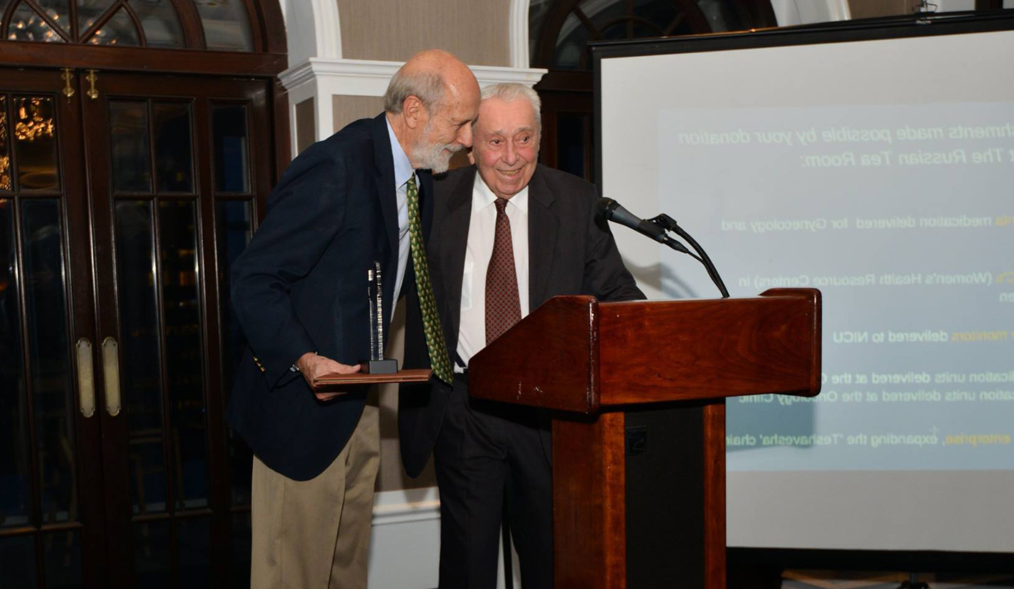 James C. Strickler, MD (left), and George A. Little, MD, FAAP (right), received their awards at an event at the Yale Club 在 New York City. (Photo courtesy of Action for Mothers and Children)